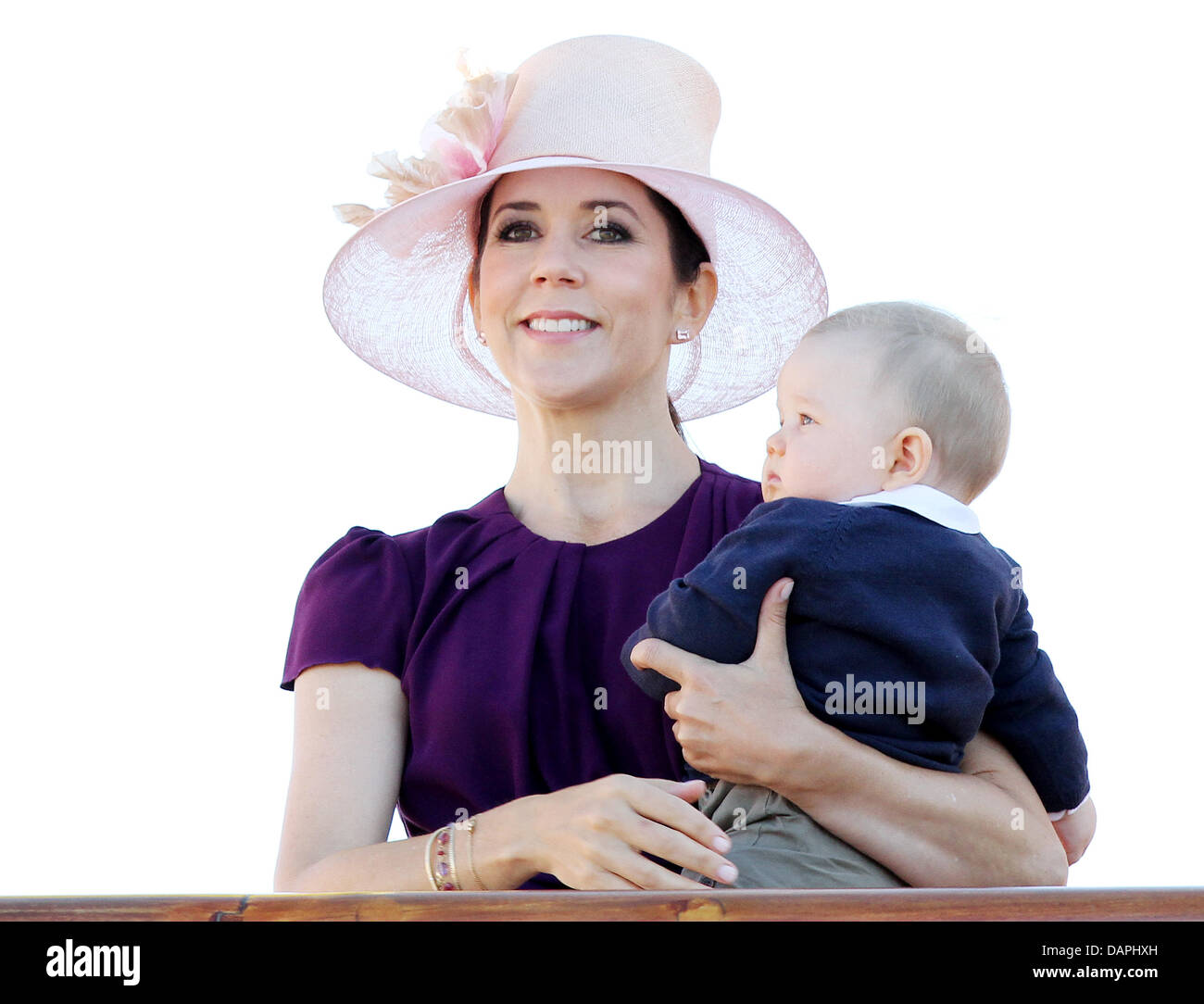 Danish Crown Princess Mary arrives with Prince Vincent on 22 August 2011 in Skagen, Denmark, during their summer - Stock Image
