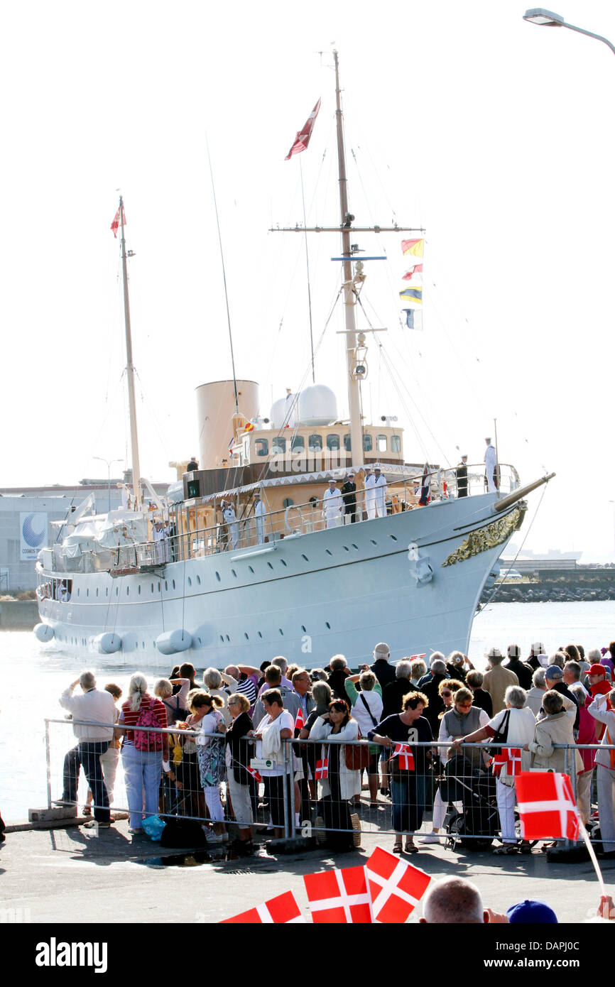 Danish royal yacht Dannebrog arrives on 22 August 2011 in Skage, Denmark, during their summer of the Danish royals. - Stock Image