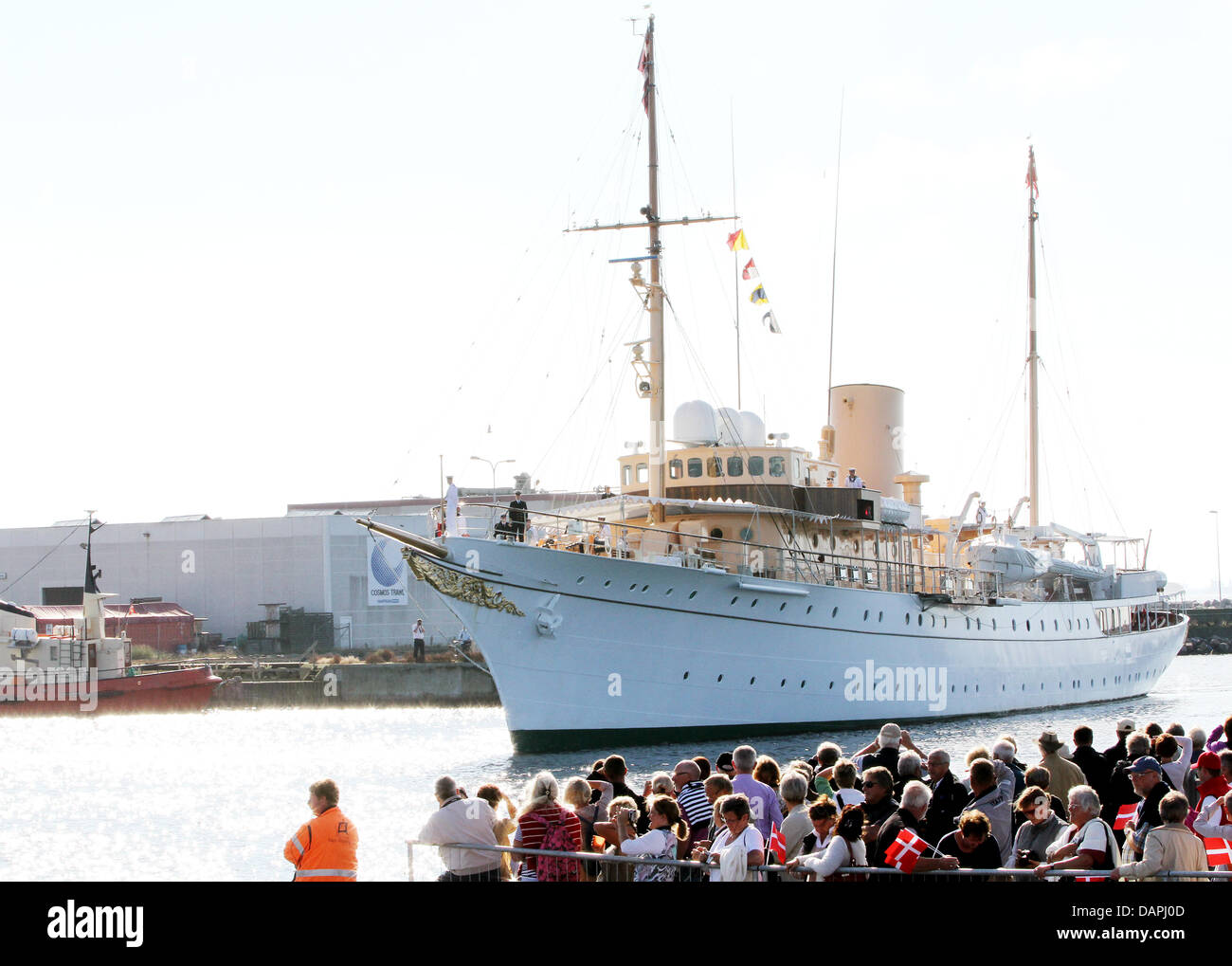 Danish royal yacht Dannebrog arrives on 22 August 2011 in Skage, Denmark, during their summer of the Danish royals. - Stock Image