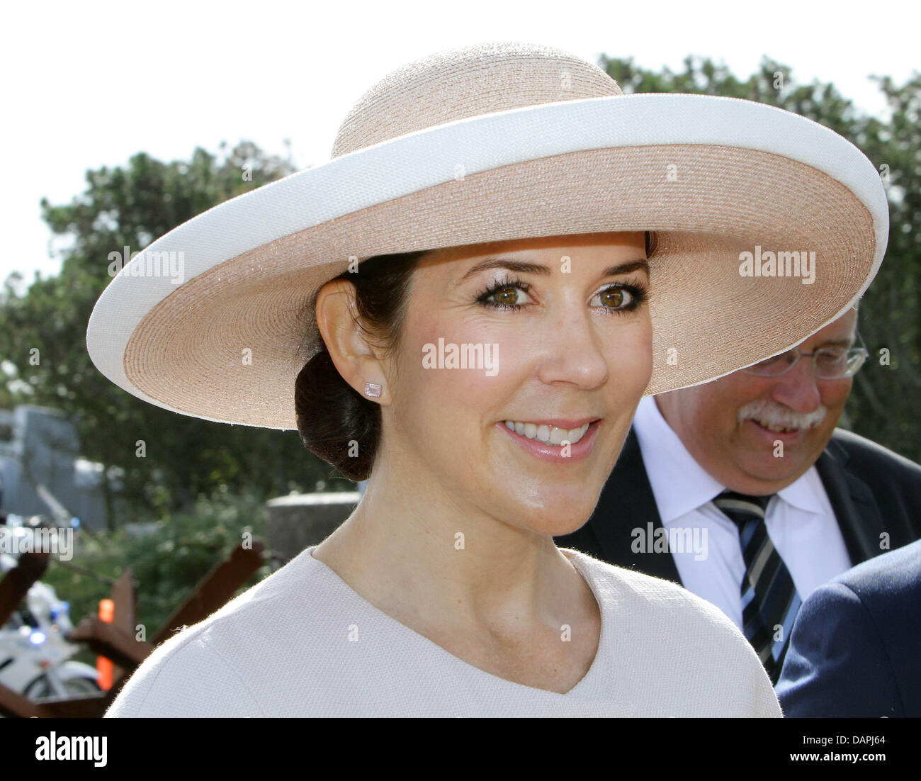 Danish Crown Princess Mary arrives in Hanstholm, Denmark, 23 August 2011, during their summer tour with the royal - Stock Image