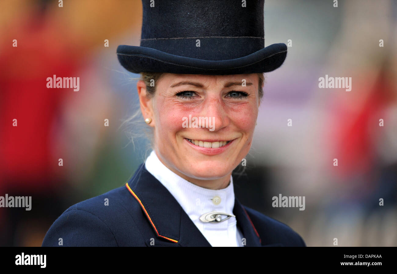 German eventing rider Julia Mestern smiles during the dressage event of the European Eventing Championships in Luhmuehlen, Stock Photo