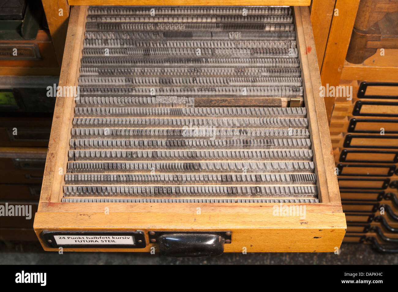 Germany, Bavaria, Detail of lead typesetting at traditional print shop - Stock Image