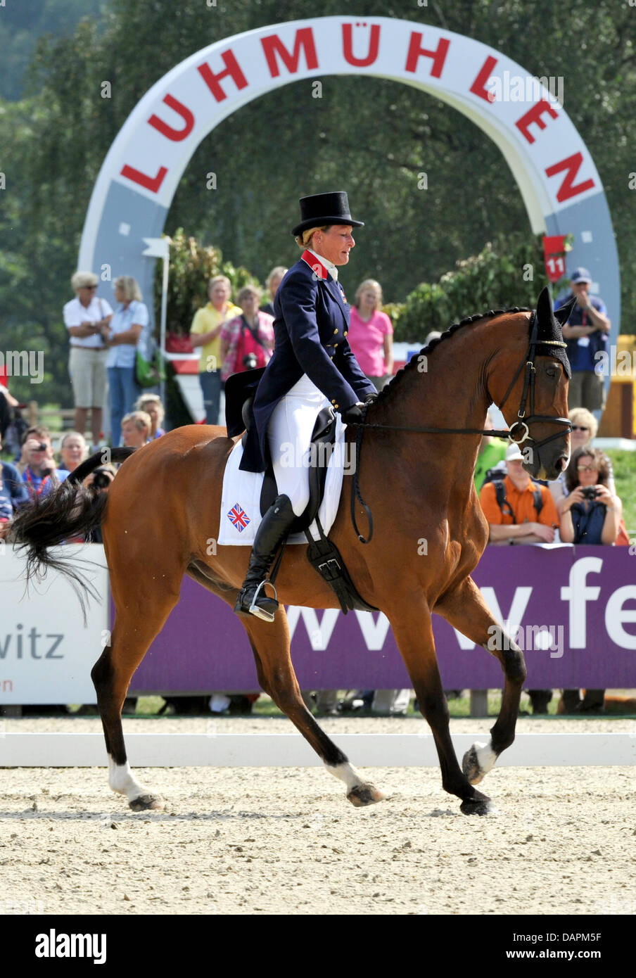 The British eventing equestrian Mary King in action on her horse Imperial Cavalier during the dressage tournament - Stock Image