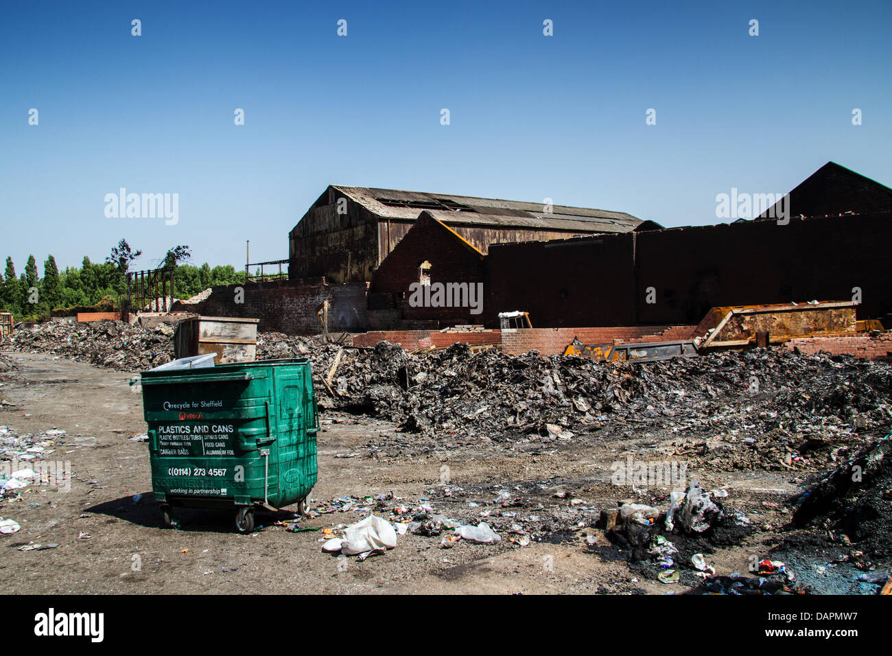 Sheffield, UK. 17th July, 2013. Aftermath of fire at recycling centre in Sheffield that occurred on Sunday 15th - Stock Image
