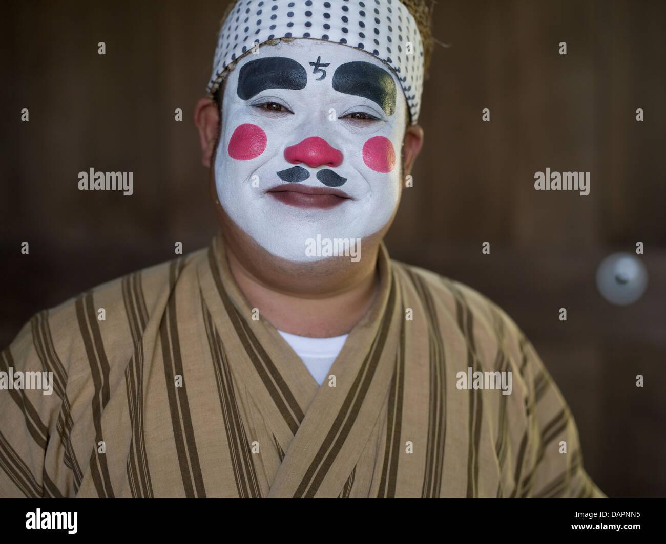 Chondara, Okinawan clown, at Ryukyu Mura, Okinawa, Japan - Stock Image