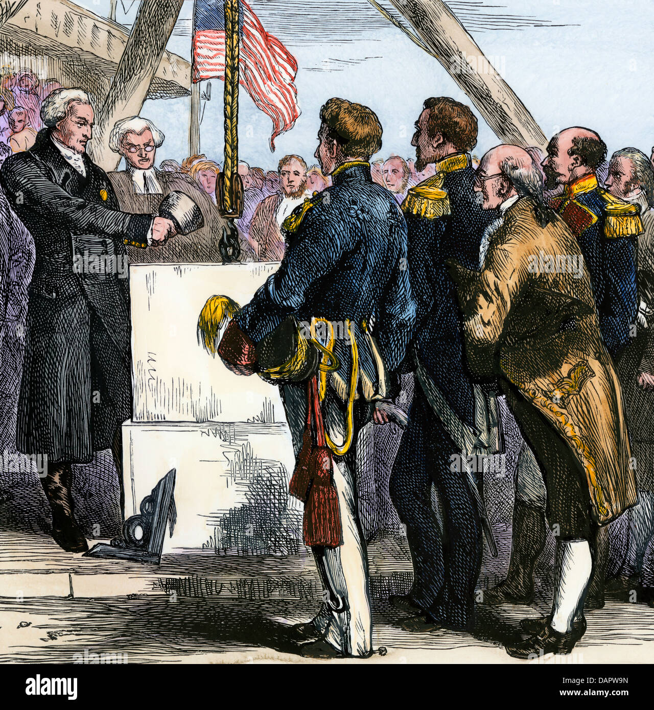 Lafayette laying the cornerstone of the Bunker Hill Monument during his visit to Boston, 1824. Hand-colored woodcut - Stock Image