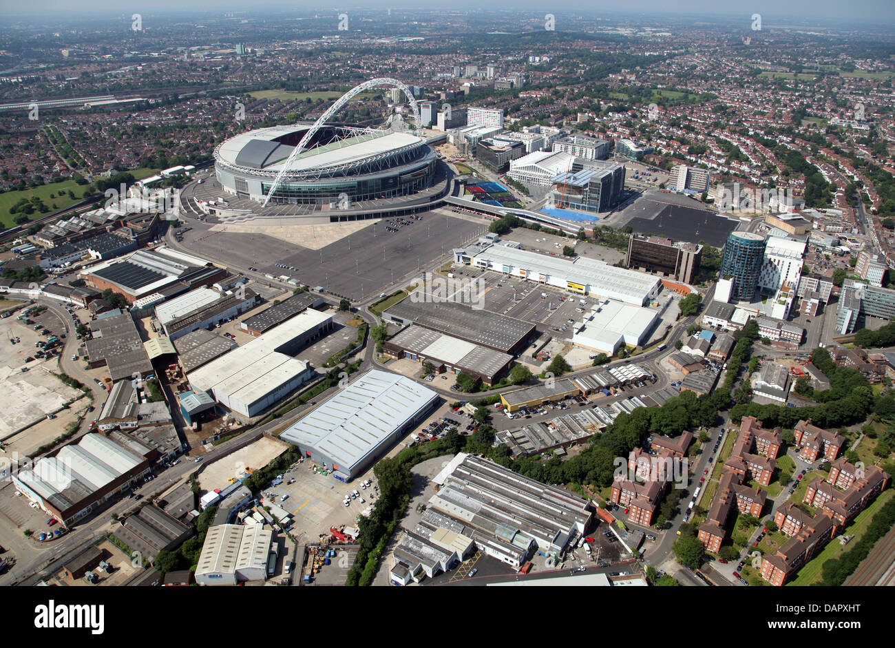 aerial view of Wembley Park, Wembley, London - Stock Image