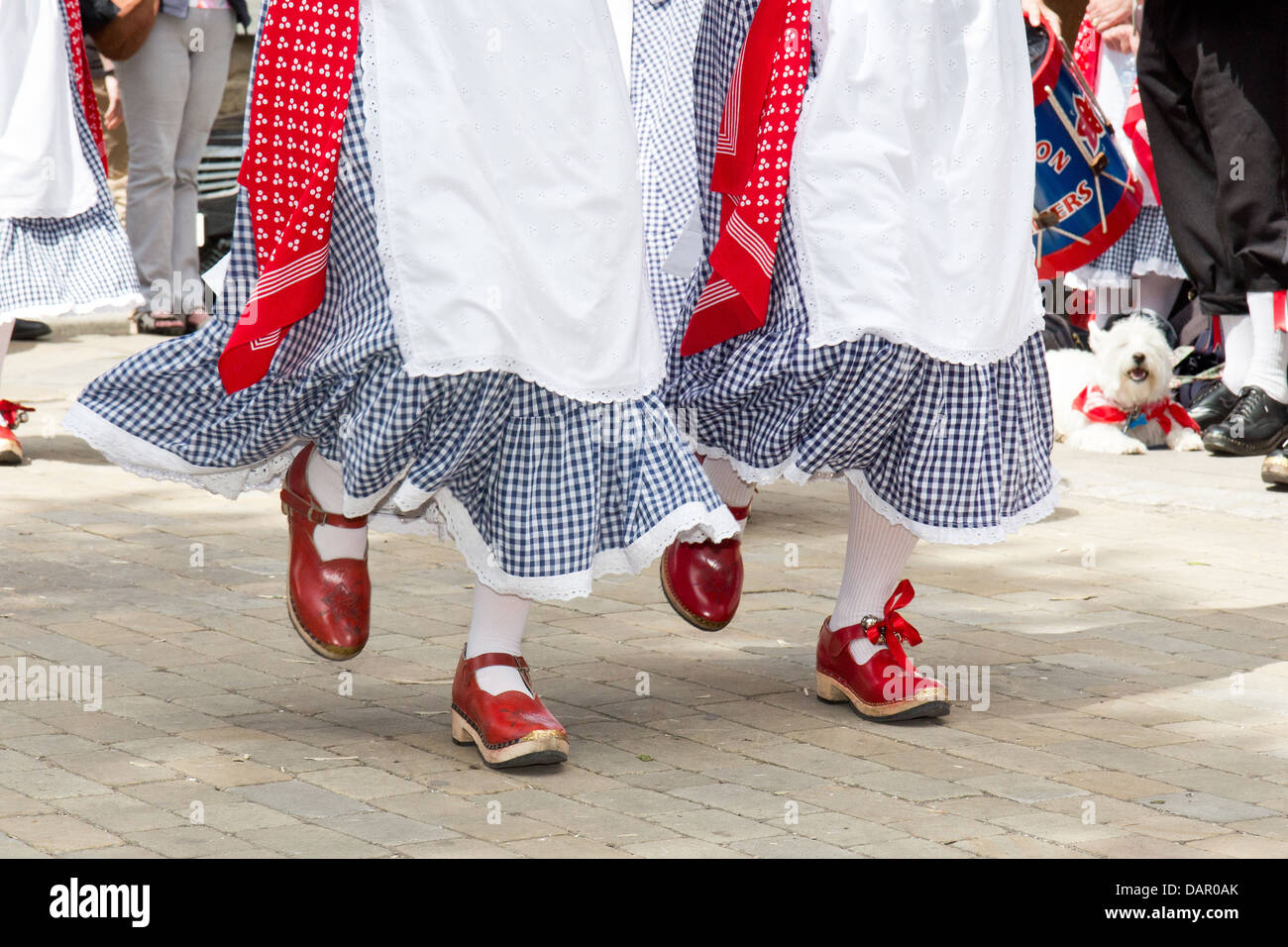 Portrait of a traditional folk dancers with red shoes at the Bakewell Day of Dance 2013, Derbyshire, England - Stock Image