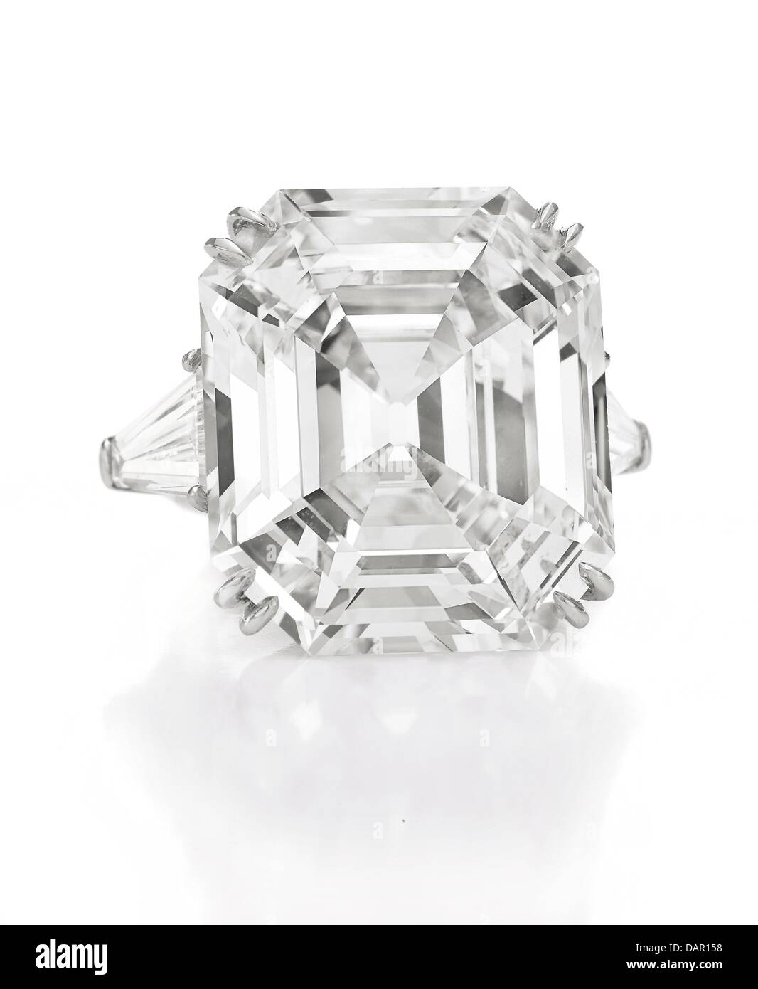 Undated handout shows 'The Elizabeth Taylor Diamond', a diamond ring of 33.19 carats, a fift from Richard - Stock Image