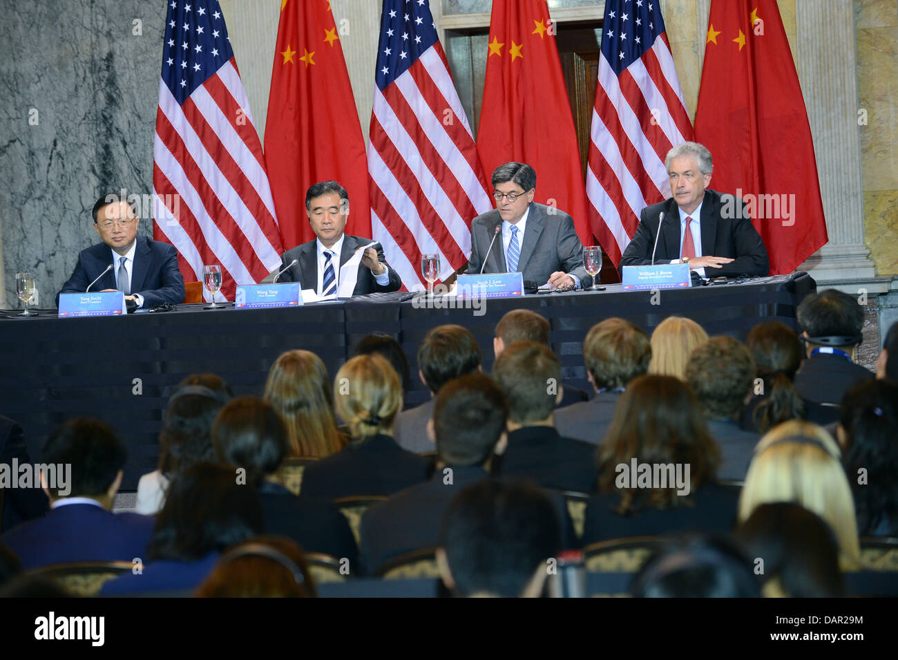 Deputy Secretary Burns, Secretary Lew, Chinese State Councilor Yang, and Chinese Vice Premier Wang Deliver Their - Stock Image