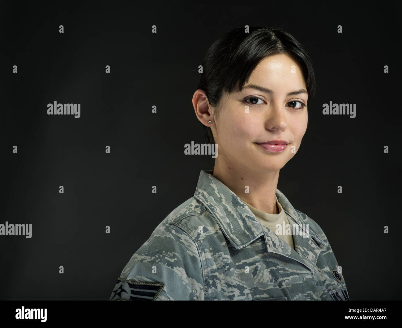 Portrait of Female United States Air Force Soldier in uniform - Stock Image