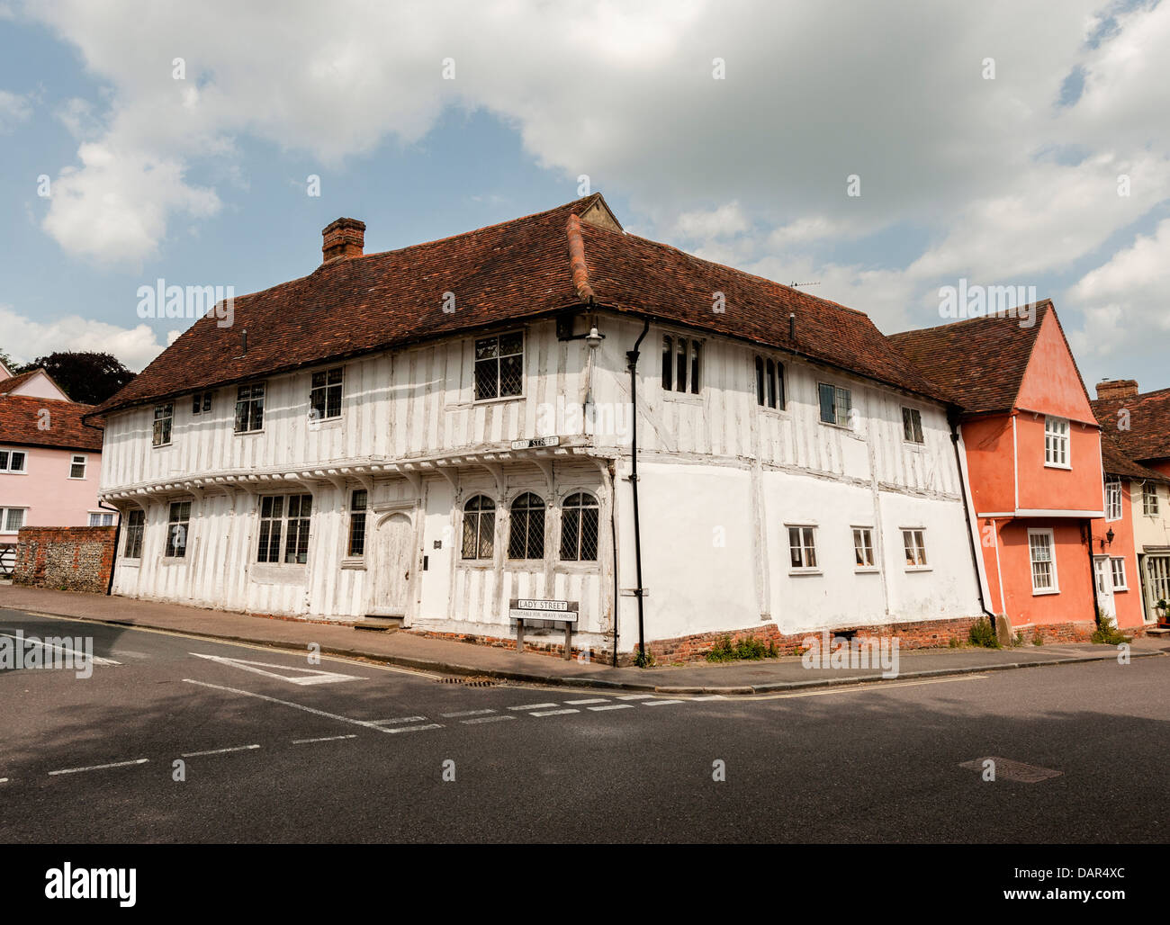 15th Century Timber Frame House in Lavenham Suffolk - Stock Image