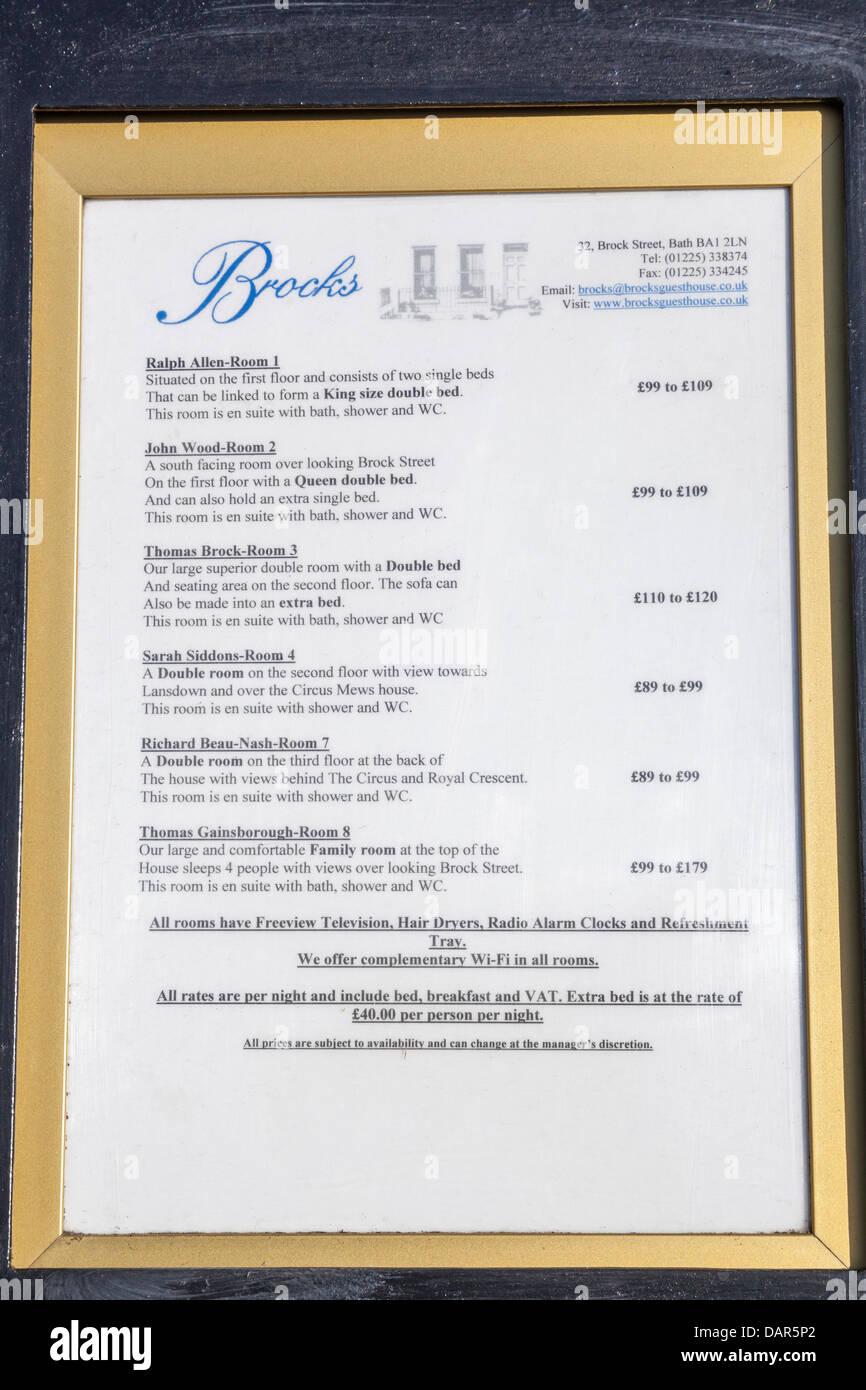 England, Somerset, Bath, Hotel Room Description and Price Menu - Stock Image