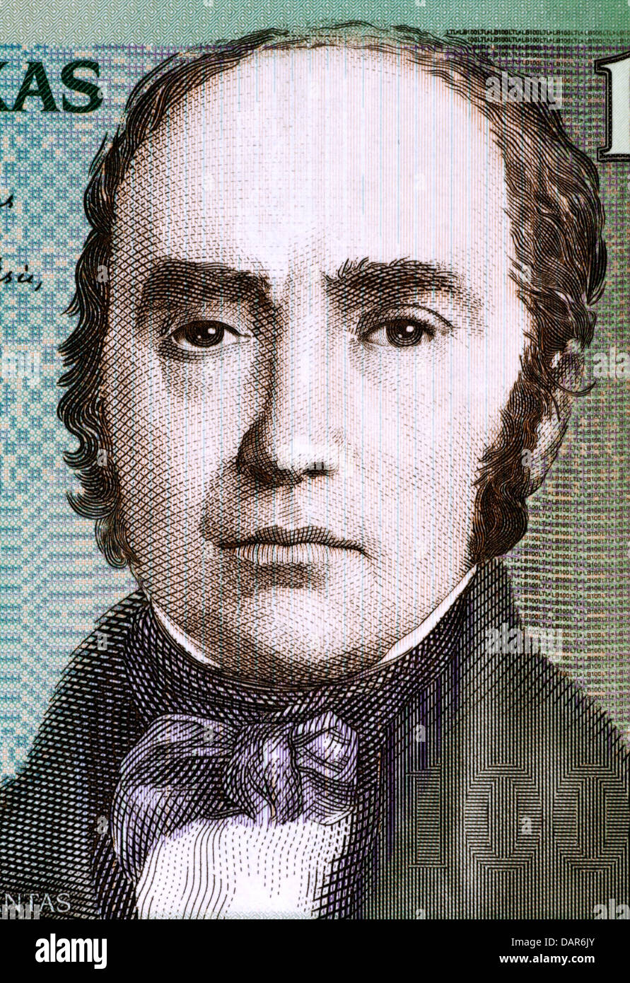 Simonas Daukantas (1793-1864) on 100 Litu 2007 Banknote from Lithuania. Lithuanian writer, ethnographer and historian. - Stock Image