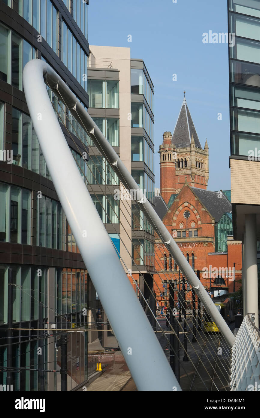 England, Manchester, detail of suspension bridge and modern office buildings - Stock Image