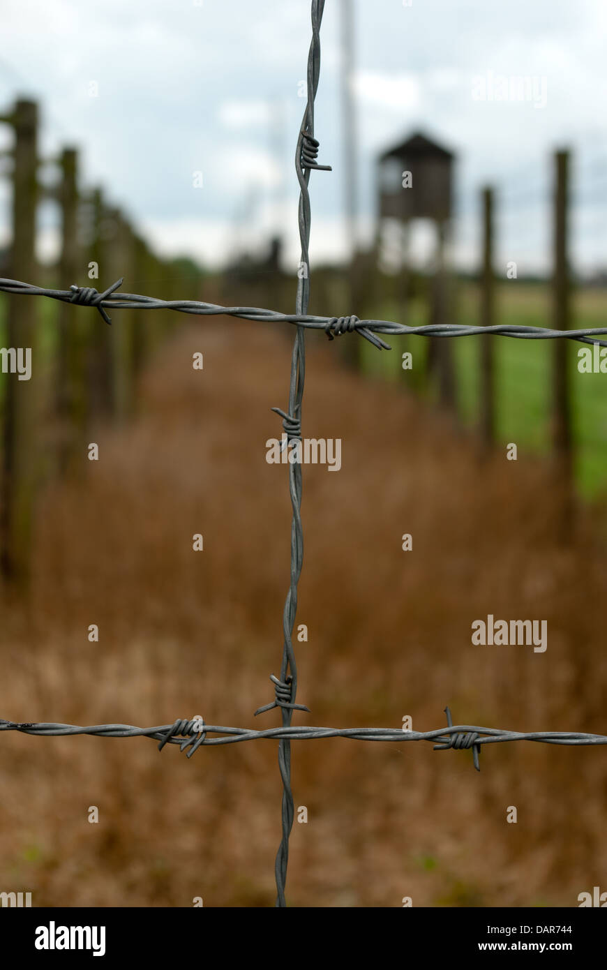 Barbed wire fence, concentration camp - Stock Image