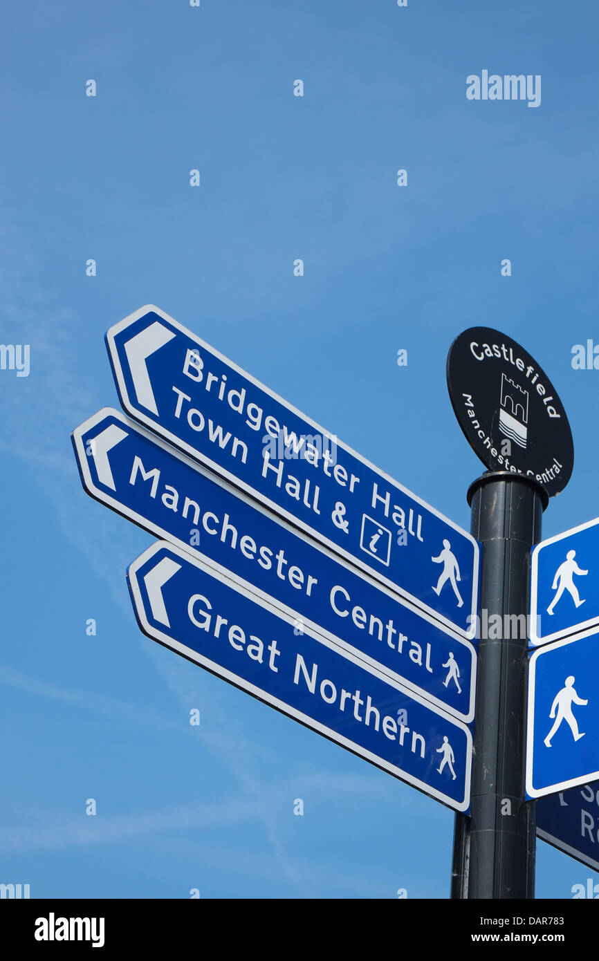 England, Manchester street sign in Castlefield district - Stock Image