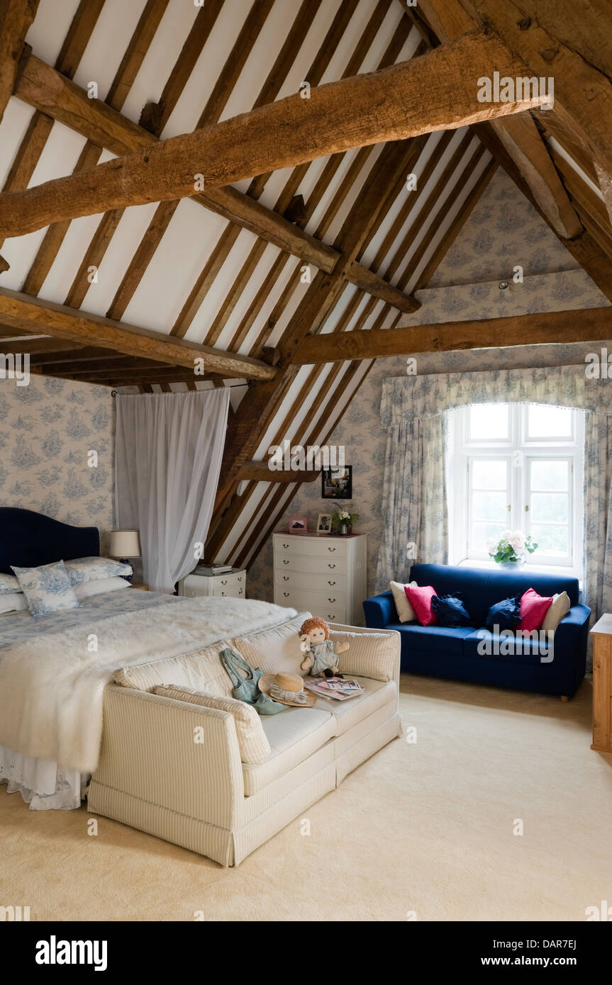 Charming Exposed Beams In Loft Bedroom, English 17th Century Manor House, Ampney Park