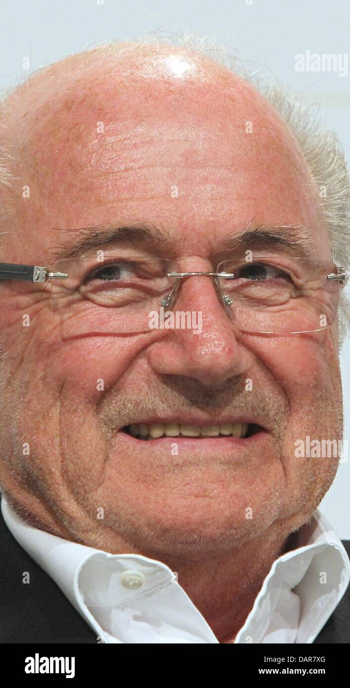 Sepp Blatter, FIFA president, speaks at a podium discussion during the forum 'Camp Beckenbauer' in Going, - Stock Image