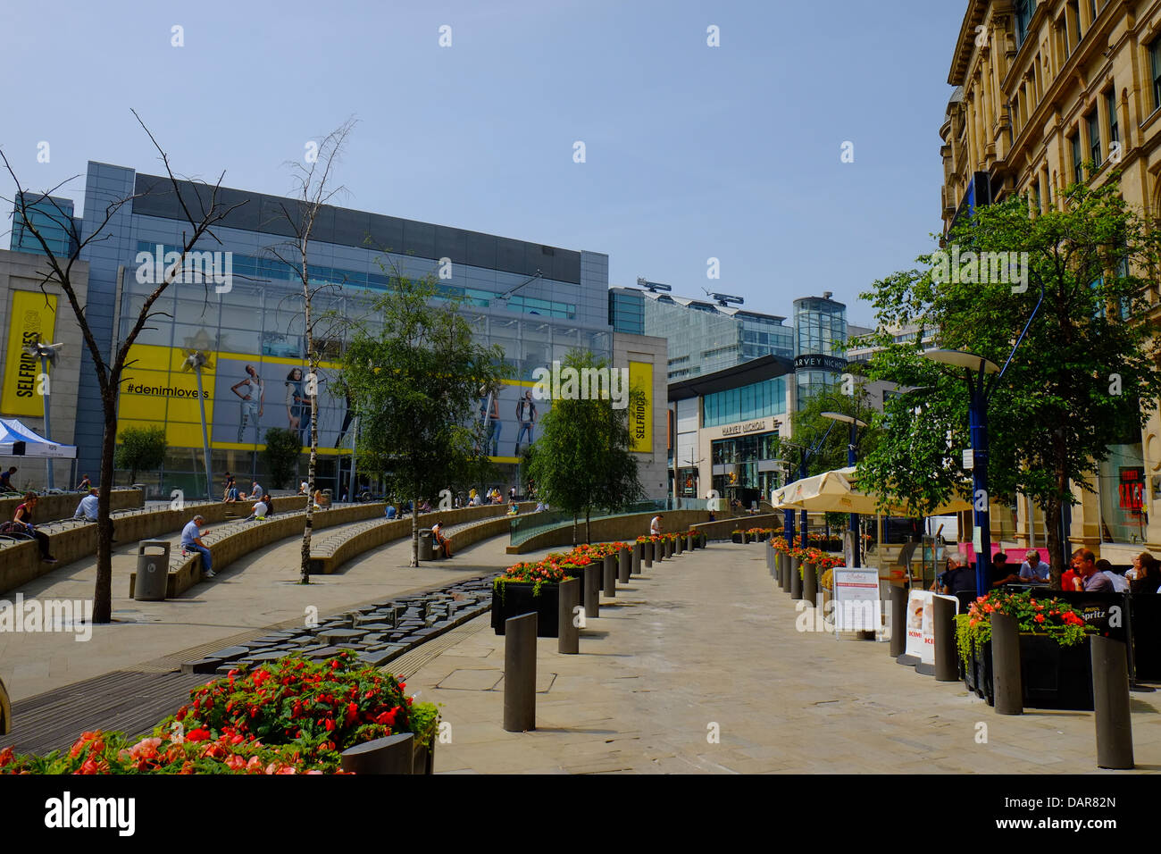 England, Manchester, The Triangle looking back towards Harvey Nichols and Selfridges - Stock Image