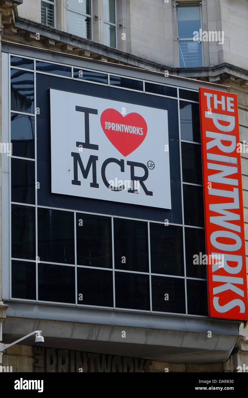 England, Manchester, I love Manchester sign outside The Printworks (shops, bars and cinema) - Stock Image