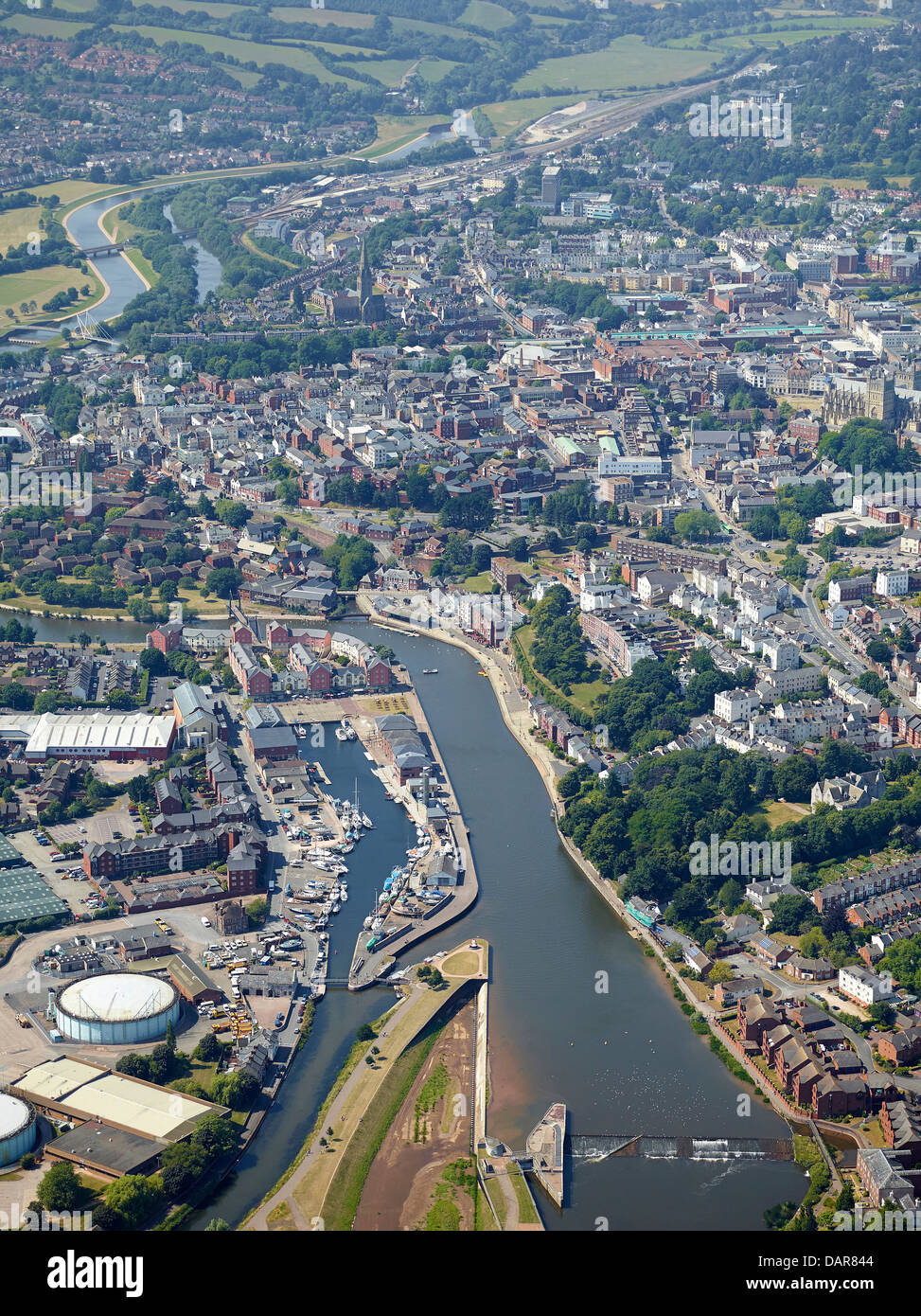 Exeter City centre with the river Exe, South West England, UK - Stock Image