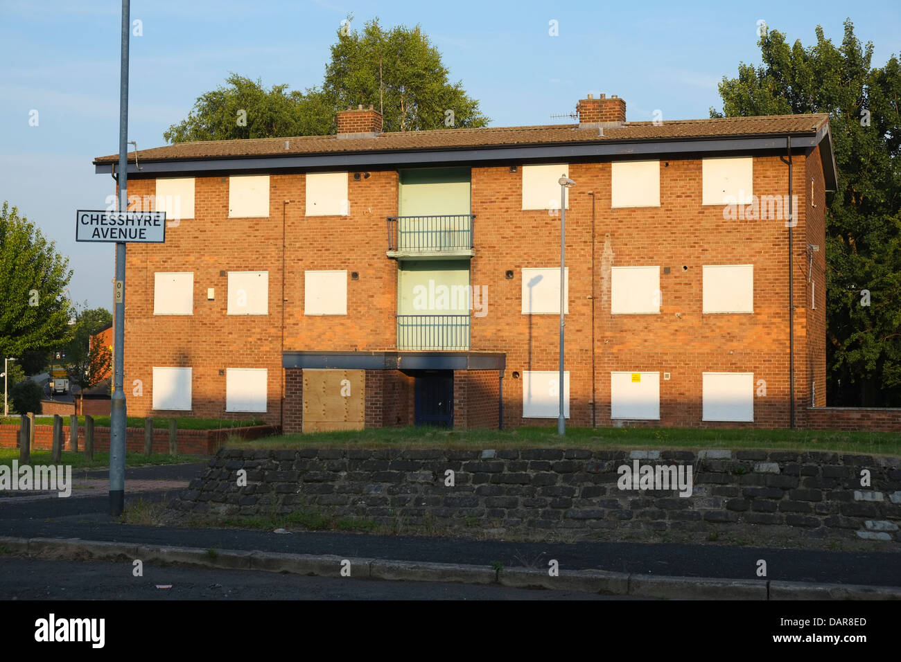 England, Manchester, derelict council home in Islington district - Stock Image