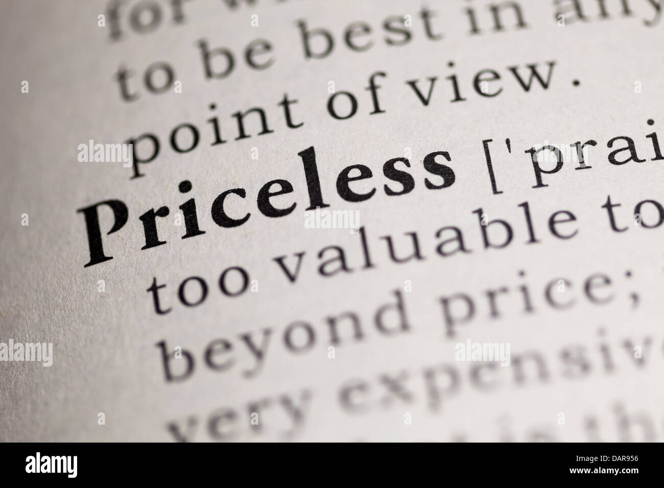 Fake Dictionary, Dictionary definition of the word Priceless. - Stock Image