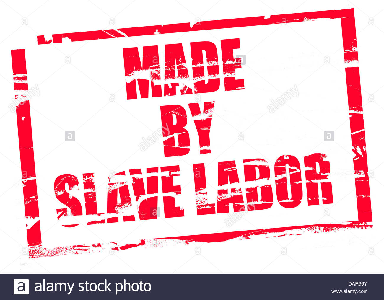Digital composite Rubber stamp. Made by slave labor - Stock Image
