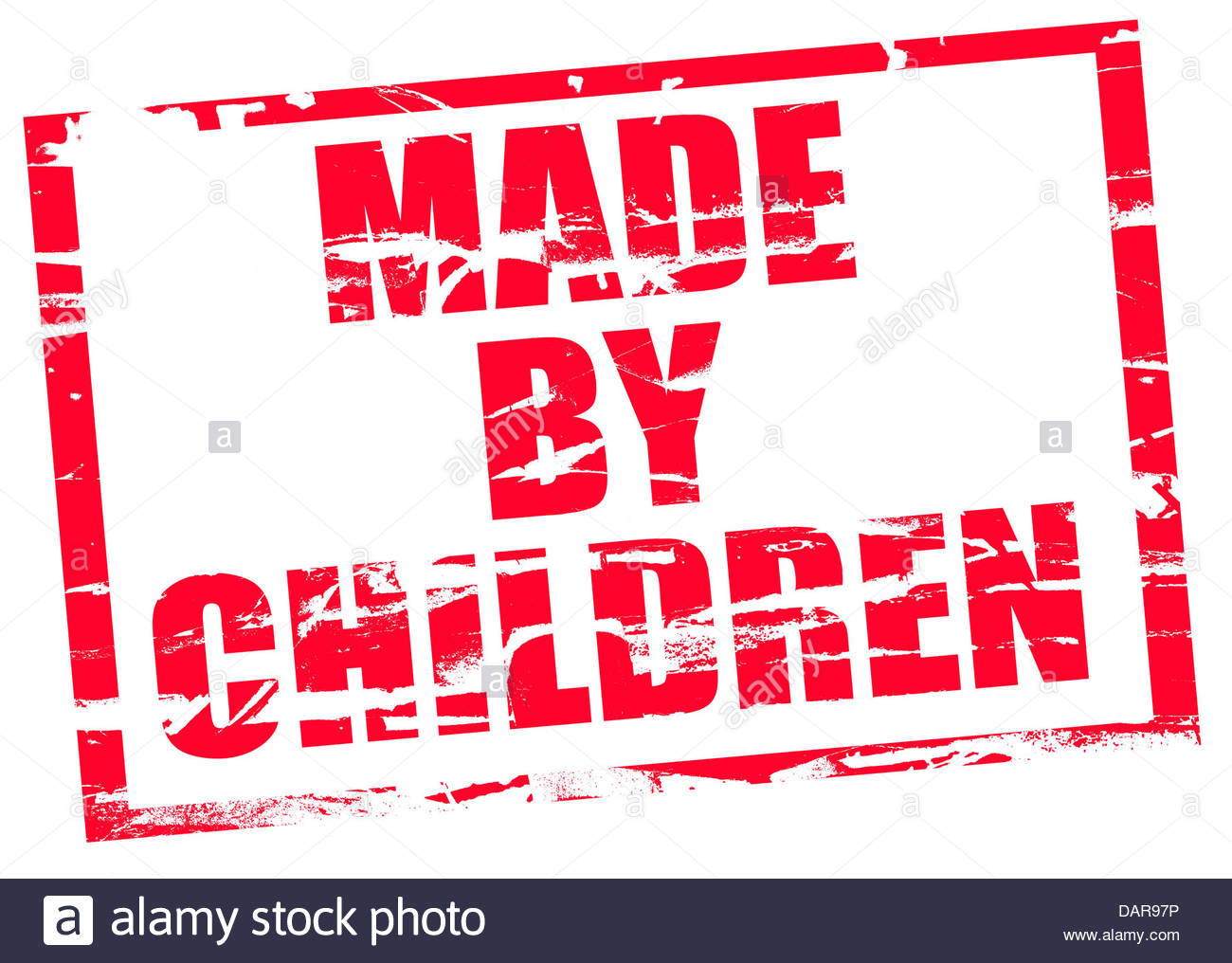 Digital composite Rubber stamp. Made by children. - Stock Image