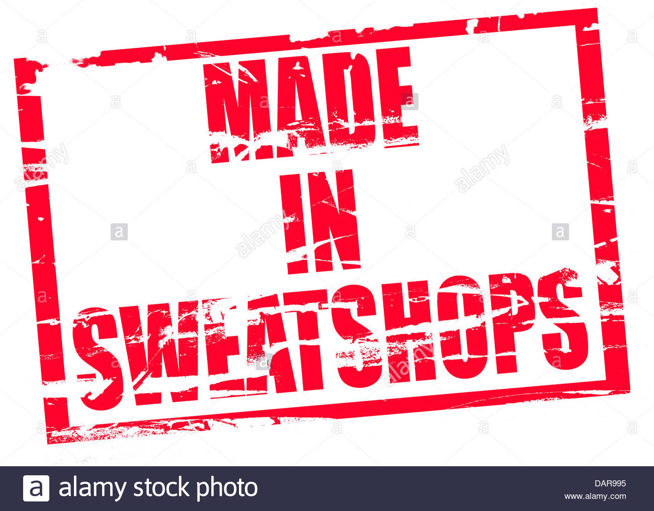 Digital composite Rubber stamp. Made in sweatshops - Stock Image
