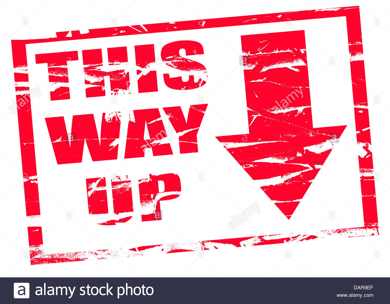 Digital composite Rubber stamp. This way up, upside down - Stock Image