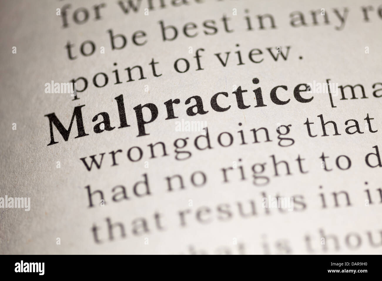 fake dictionary, dictionary definition of the word malpractice stock