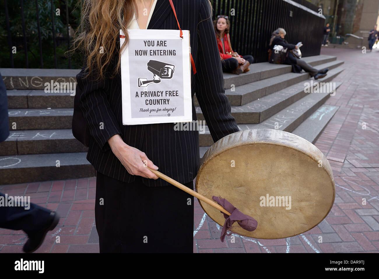 privacy protestor san francisco - Stock Image