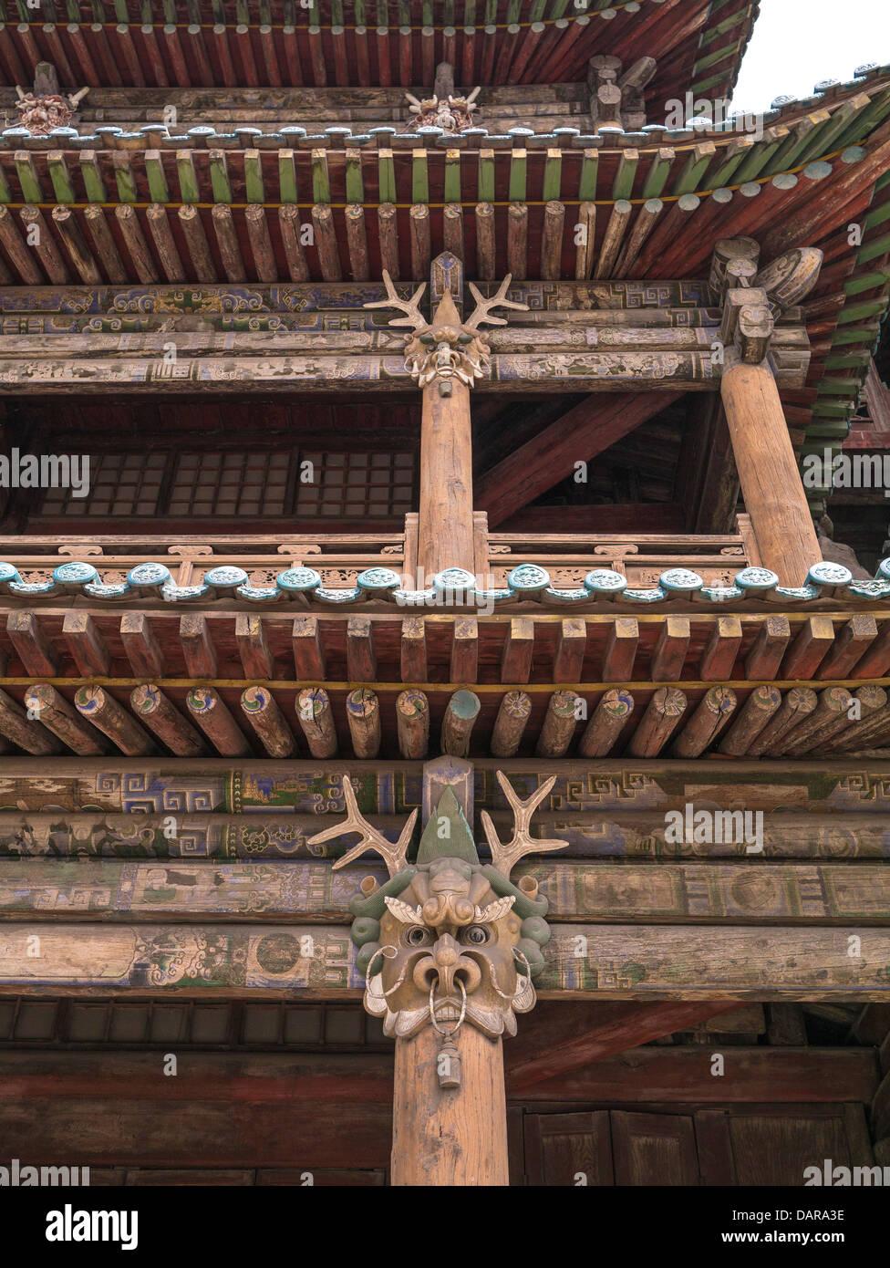 Wooden Building Decoration. Yungang Grottoes. Shanxi. China - Stock Image