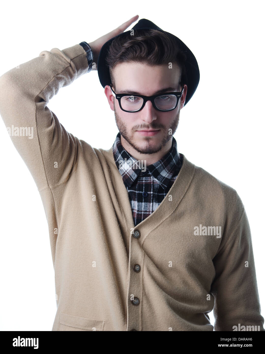 Handsome and stylish young man with black fedora hat and glasses ... 991fd440a12