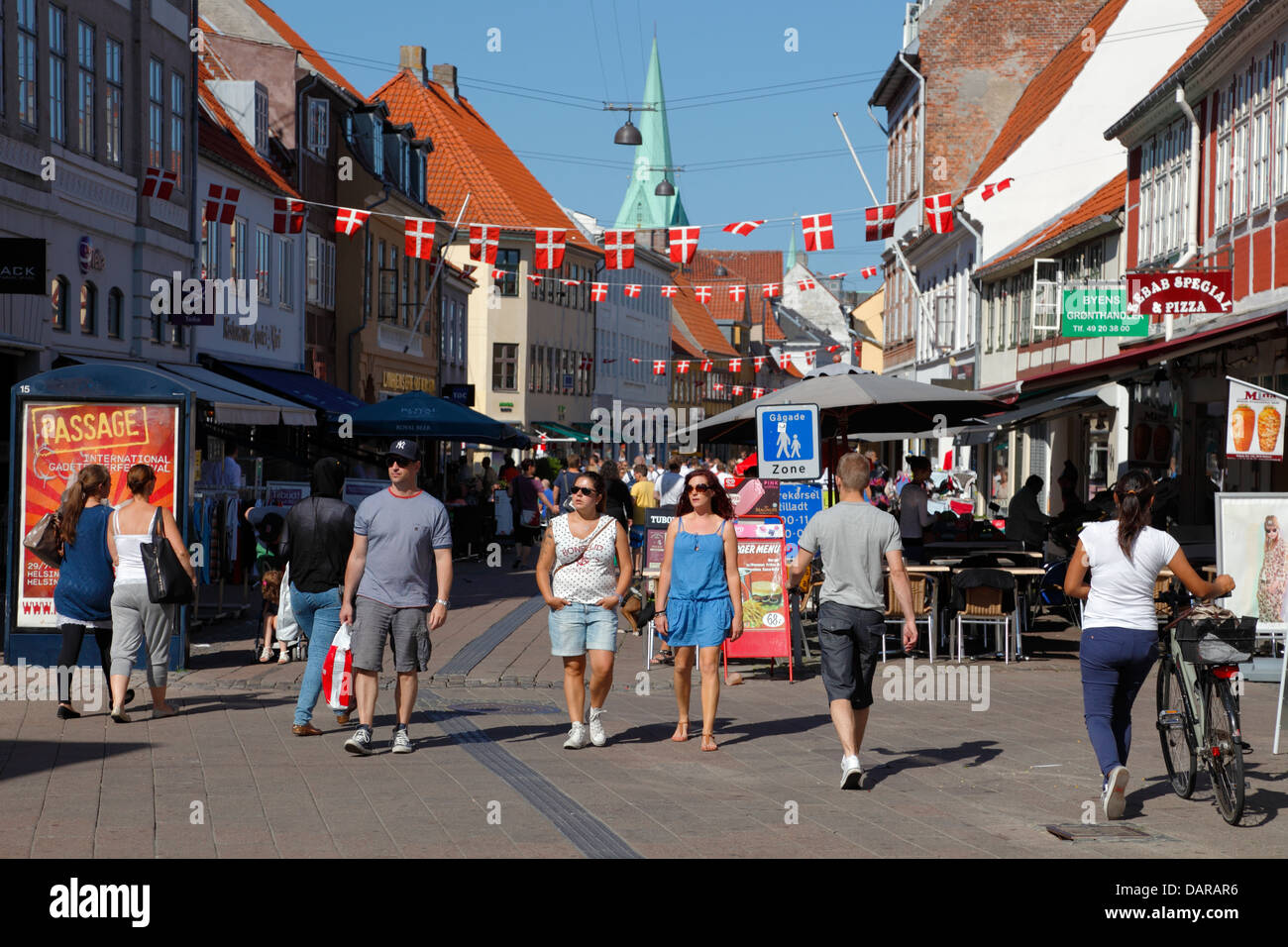 Stengade, the main street in Elsinore, Helsingør, through 600 years. Today a shopping street full of Danes, - Stock Image
