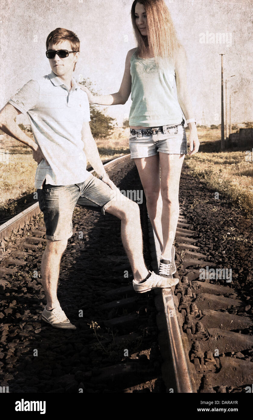 artwork in grunge style, couple - Stock Image