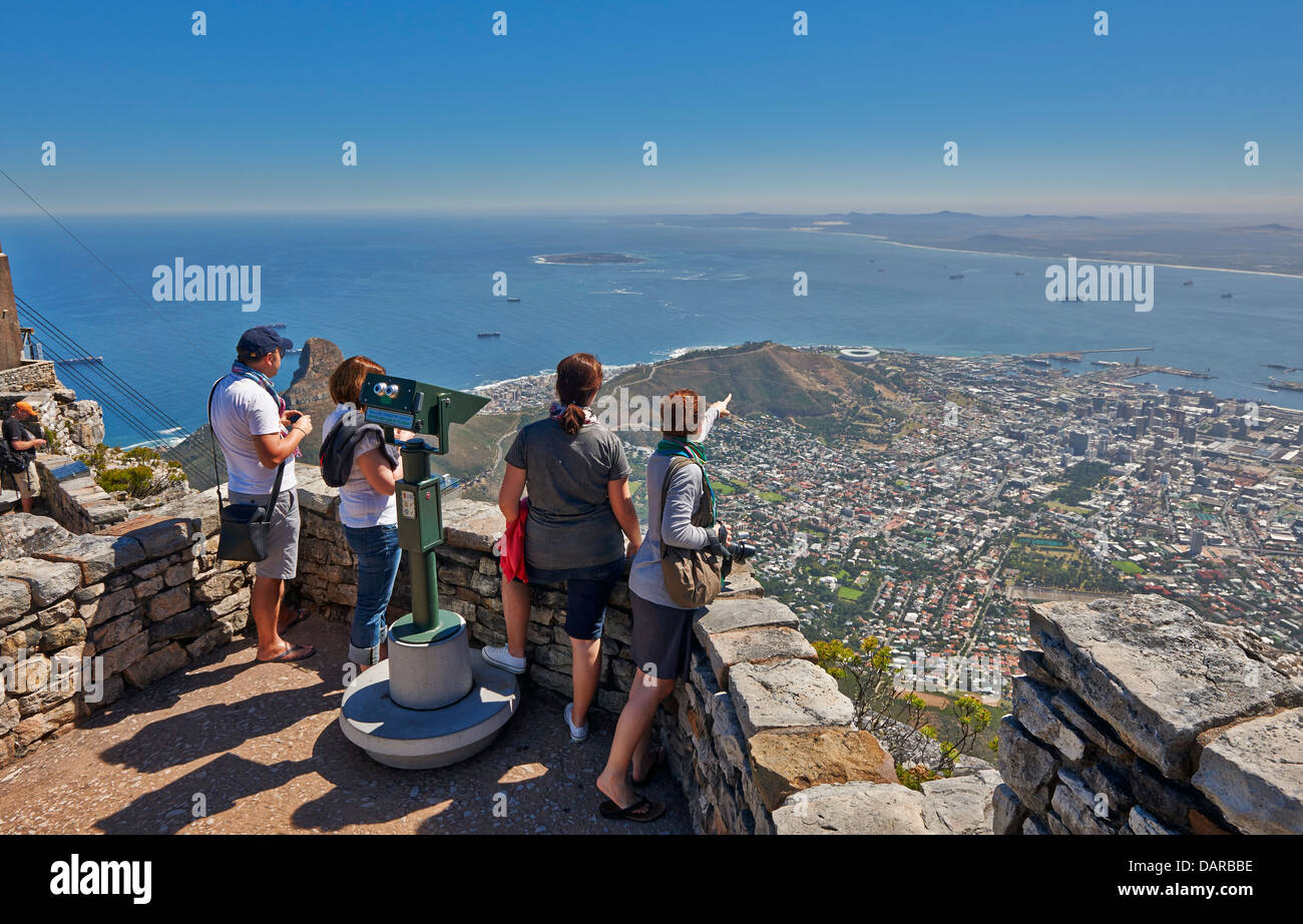 tourists on viewpoint from Table Mountain onto Cape Town, Western Cape, South Africa - Stock Image
