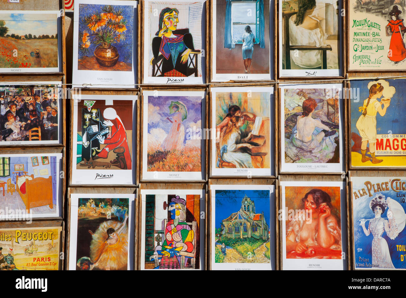 Colorful display of historic artwork made famous in and around Paris - Montmartre, Paris France - Stock Image