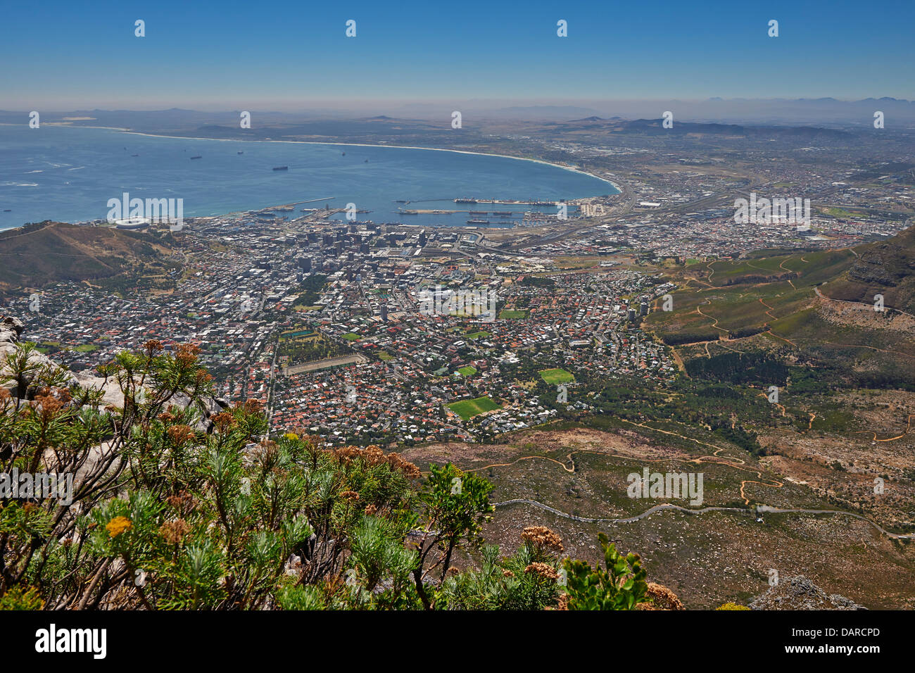 view from Table Mountain onto Cape Town, Western Cape, South Africa - Stock Image