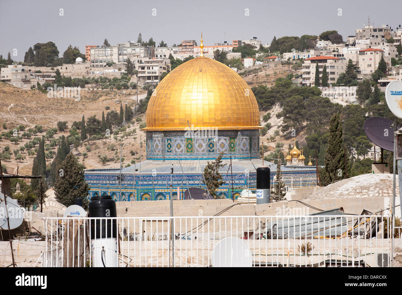 Israel Jerusalem Old City rooftop view cityscape Dome of the Rock Haram esh Sharif Mount of Olives & Church - Stock Image