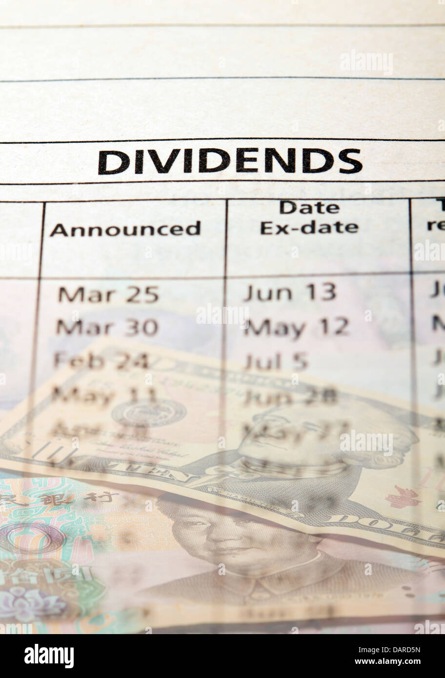 Dividend payout announcement. Concept of return on investment. - Stock Image