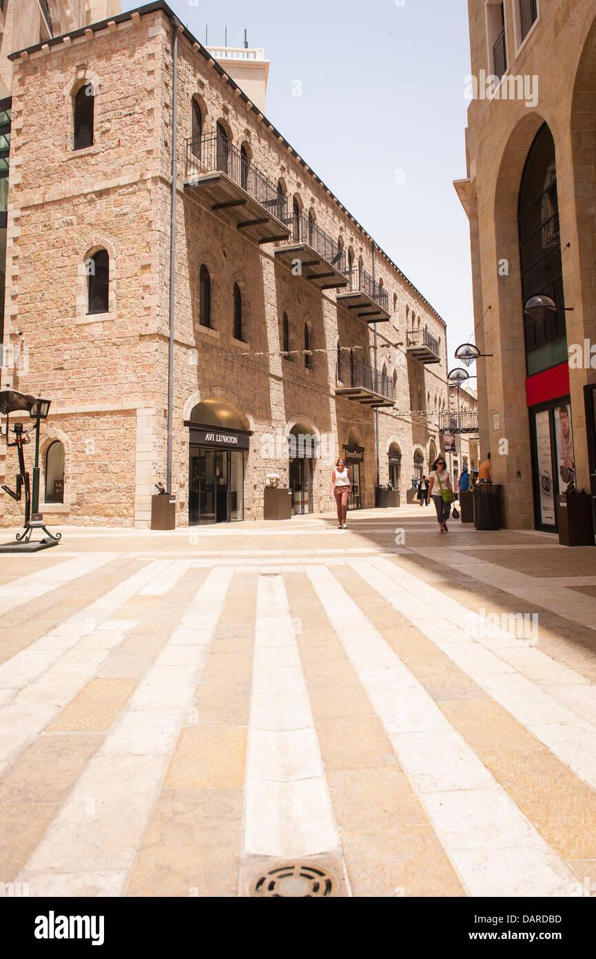 Israel Jerusalem Alrov Mamilla Avenue Mall pedestrian precinct luxury shopping street lane designer shops boutiques - Stock Image