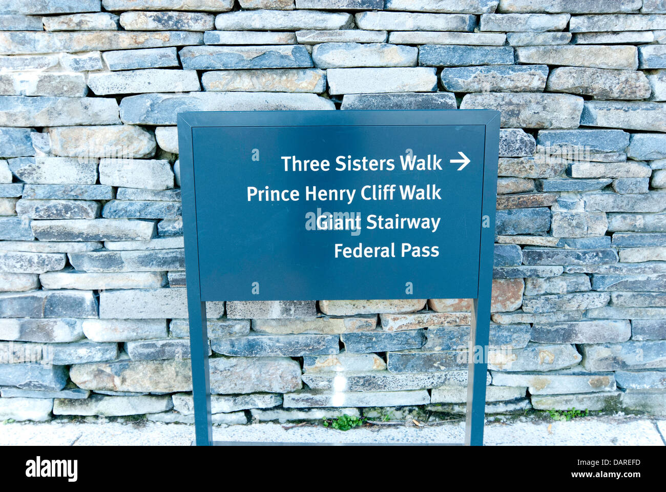 Directional signage at the Three Sisters lookout, Echo Point, Katoomba, New South Wales, Australia Stock Photo