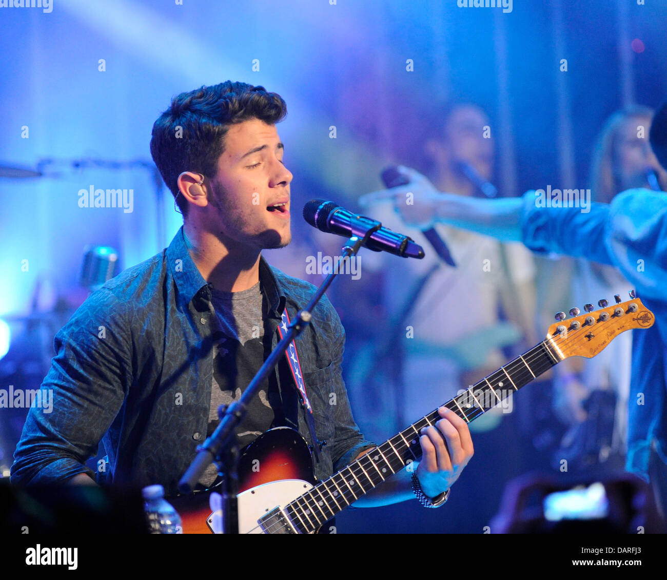 Toronto, Canada. July 17, 2013. American pop rock band JONAS BROTHERS television appearance on Much Music's - Stock Image