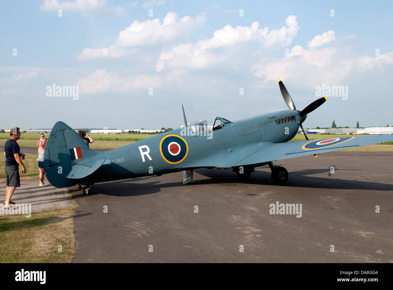 Mk XI Spitfire aircraft at Wellesbourne Airfield, UK - Stock Image