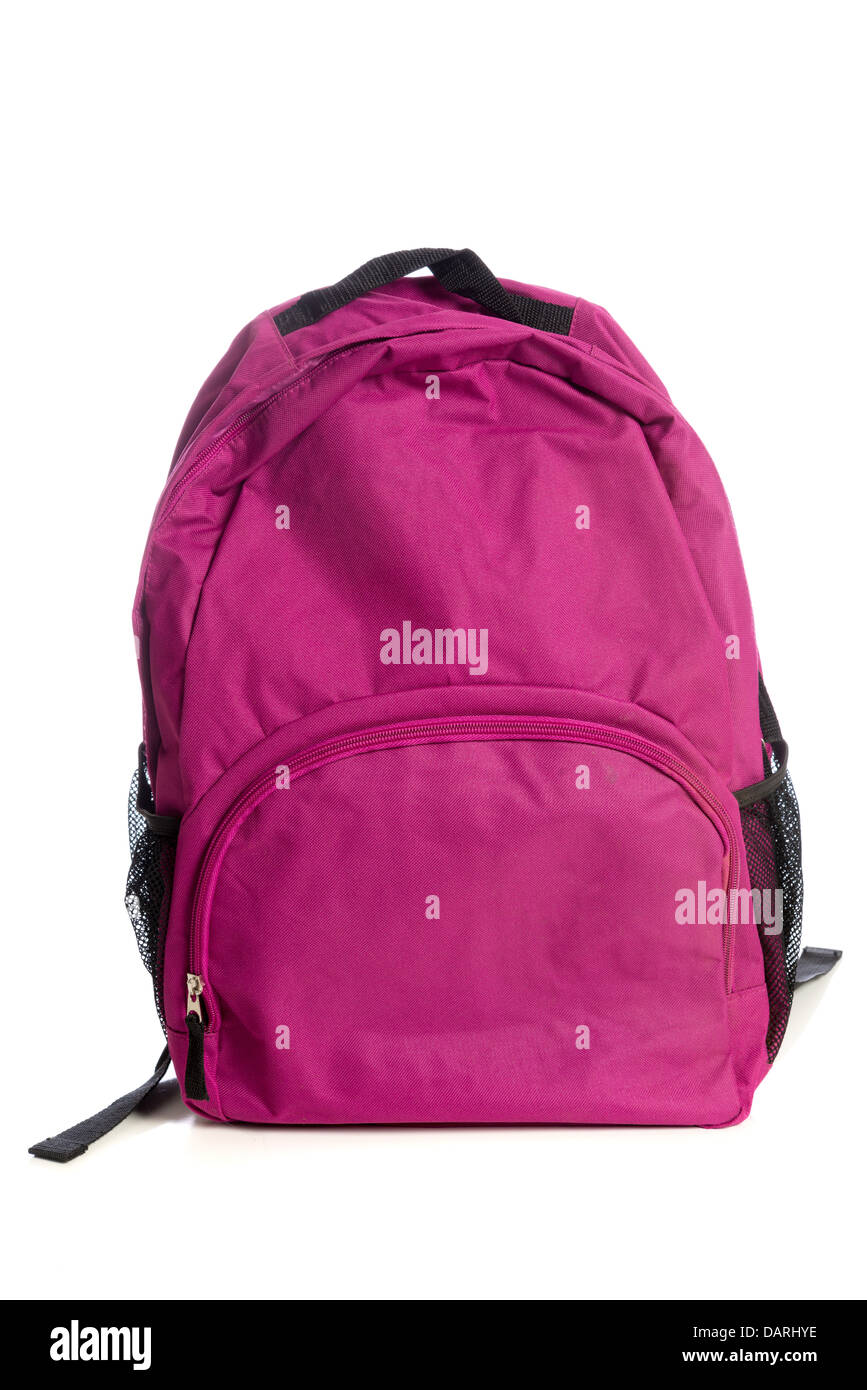 A pink backpack on a white background - Stock Image