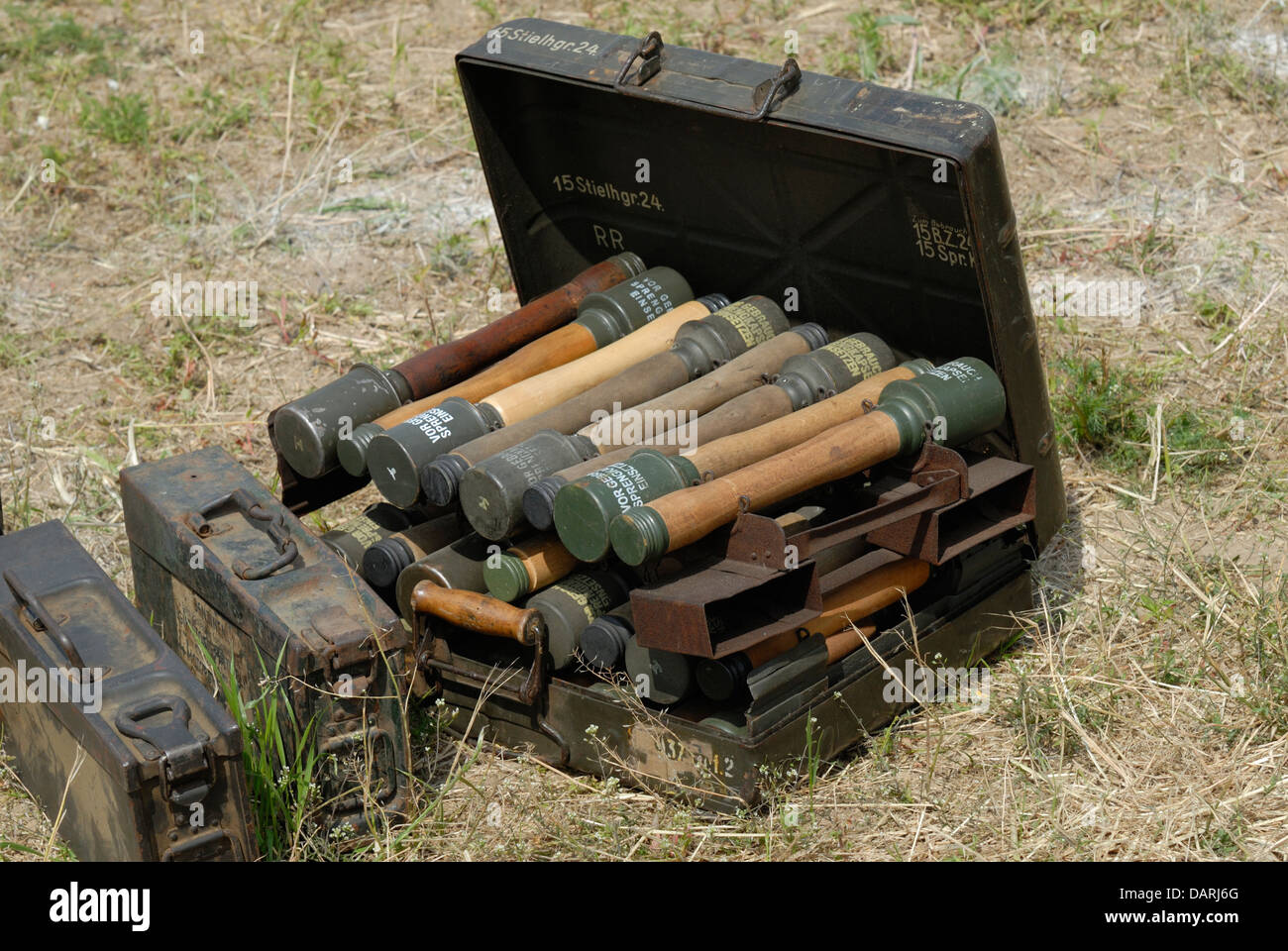 German WW2 hand grenades in box. War and Peace Revival, July 2013. Folkestone Racecourse, Kent, England, UK. - Stock Image