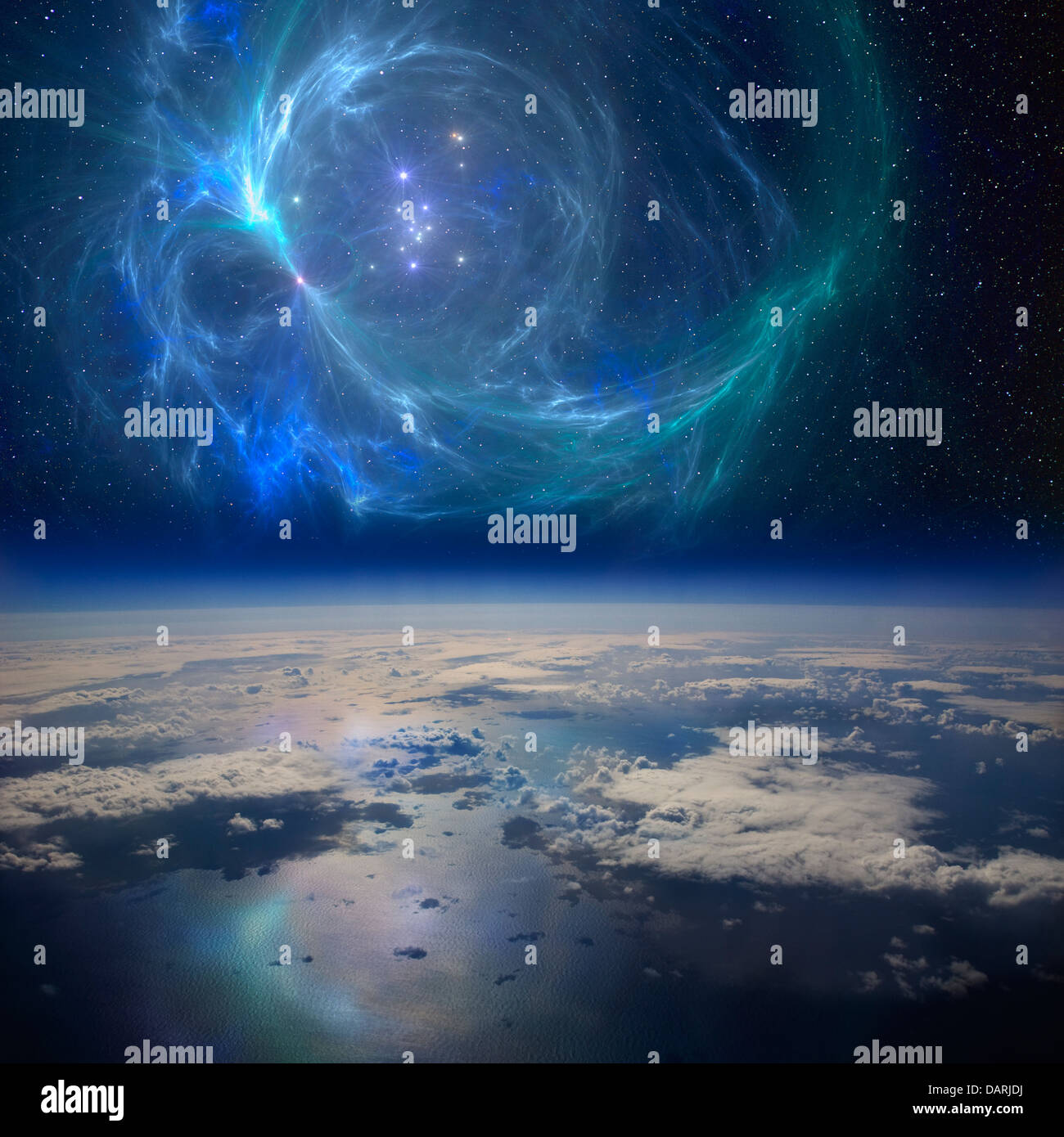 The Earth near a beautiful nebula in space. A conceptual composite image. - Stock Image